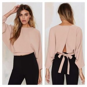 NWOT Blush Pink Batwing Crop Top w/Peekaboo Back